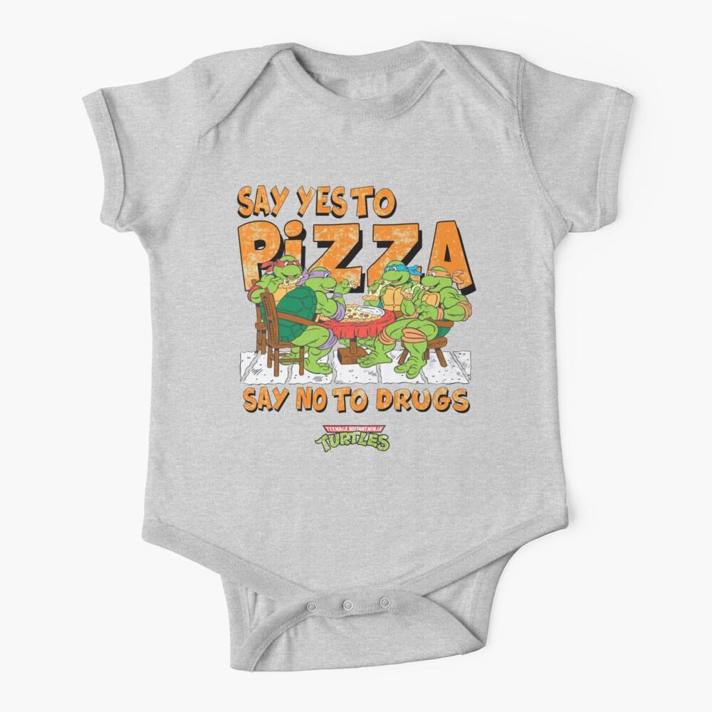 Say Yes To Pizza (Retro Ninja Turtles) Baby One-Piece