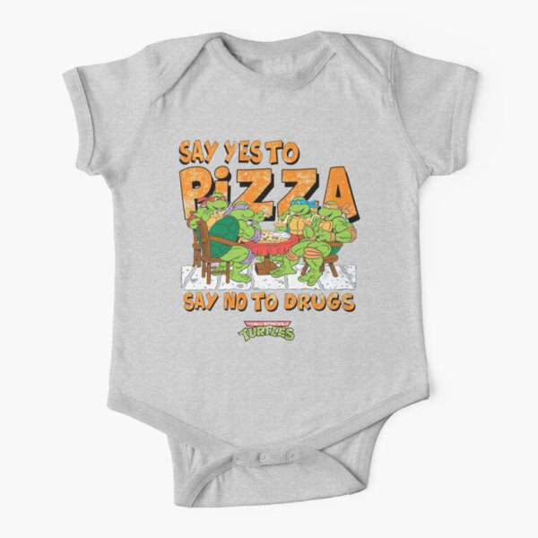 Say Yes To Pizza (Retro Ninja Turtles) Short Sleeve Baby One-Piece