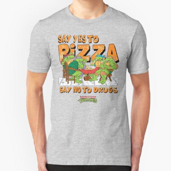 Say Yes To Pizza (Retro Ninja Turtles) Slim Fit T-Shirt