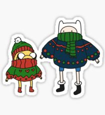 Finn and Jake Christmas Sweaters Sticker