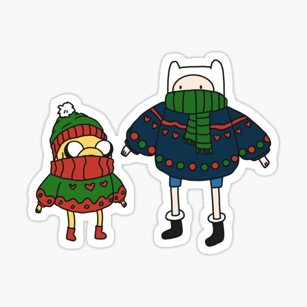 Finn and Jake Christmas Sweaters Sticker