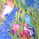Lazuli Buntings in My Garden by Lynda Earley