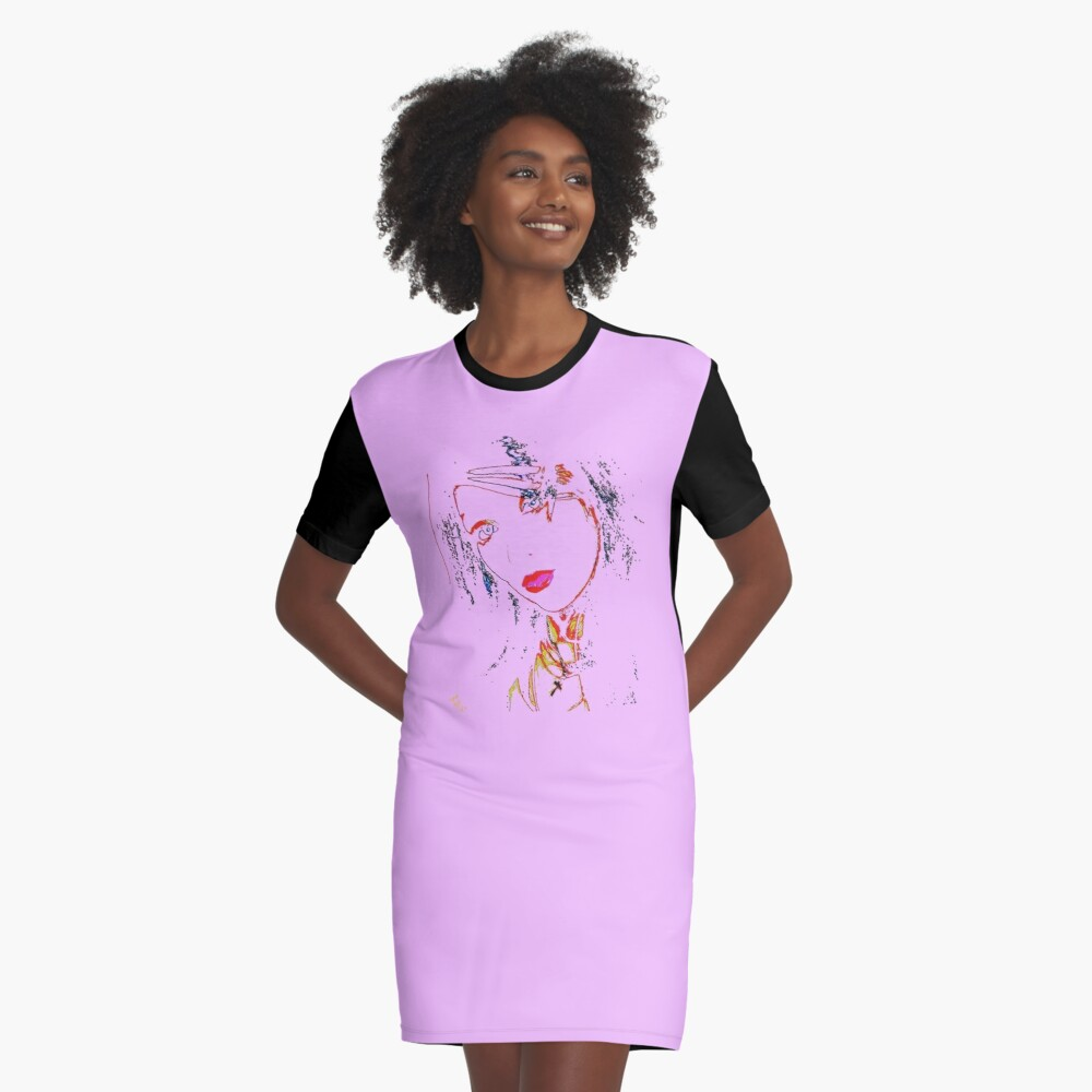 Black on Lavender by Swoot - Apparel Graphic T-Shirt Dress