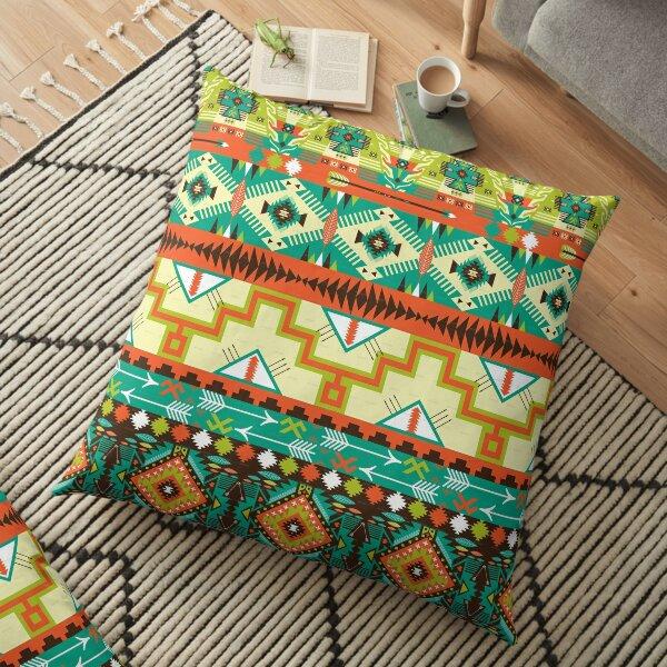 Green and Yellow Aztec Merchandise Floor Pillow