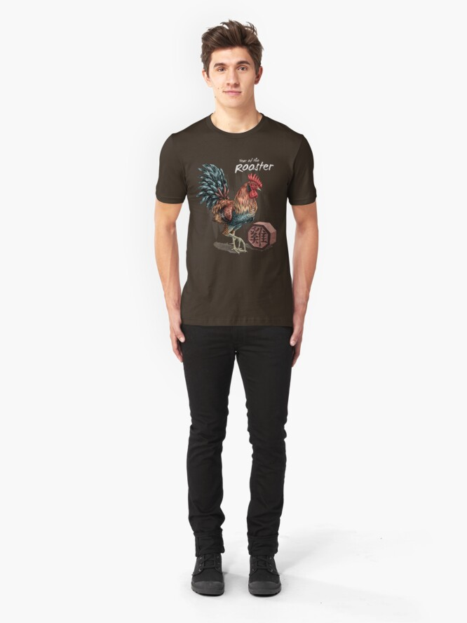 Alternate view of Year of the Rooster (for dark shirts) Slim Fit T-Shirt