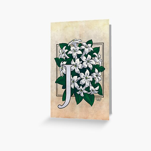 J is for Jasmine Card Greeting Card