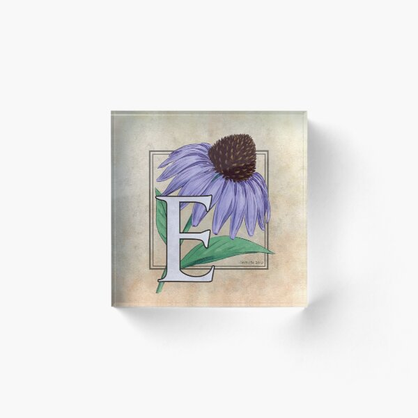 E ist für Echinacea-Blumen-Monogramm Acrylblock