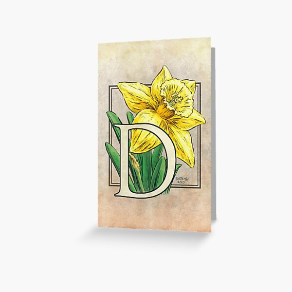 D is for Daffodil Flower Monogram Card Greeting Card