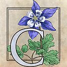 C is for Columbine Flower Monogram Card by Stephanie Smith