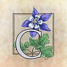 C is for Columbine Flower Monogram by Stephanie Smith