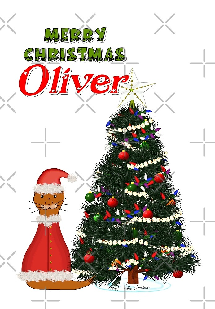 Oliver Dressed as Santa by His Christmas Tree by Colleen Cornelius