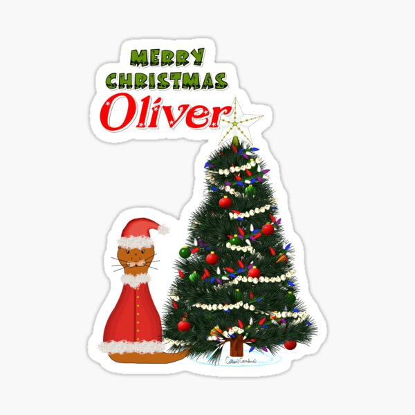 Oliver Dressed as Santa by His Christmas Tree Glossy Sticker