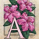 A is for Azalea Flower Monogram Card by Stephanie Smith