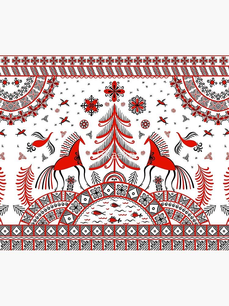 Russian folklore ornament. Mezen painting. by Skaska
