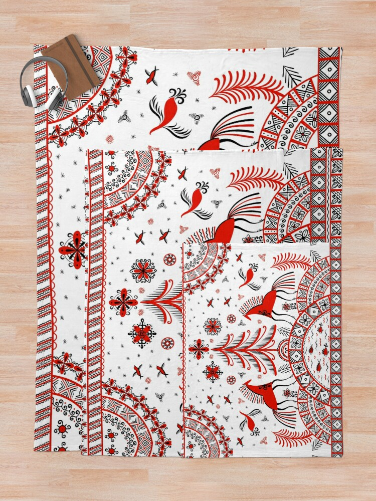 Alternate view of Russian folklore ornament. Mezen painting. Throw Blanket