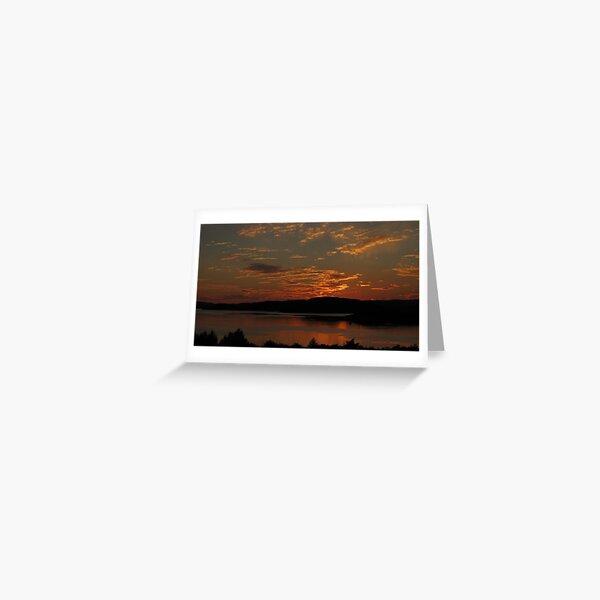 Lake Superior sunset over Blondin Island - Marathon Ontario Canada Greeting Card