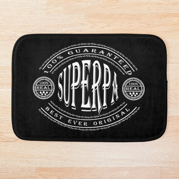 100% Best Ever Original SuperPa (white badge on black) Bath Mat