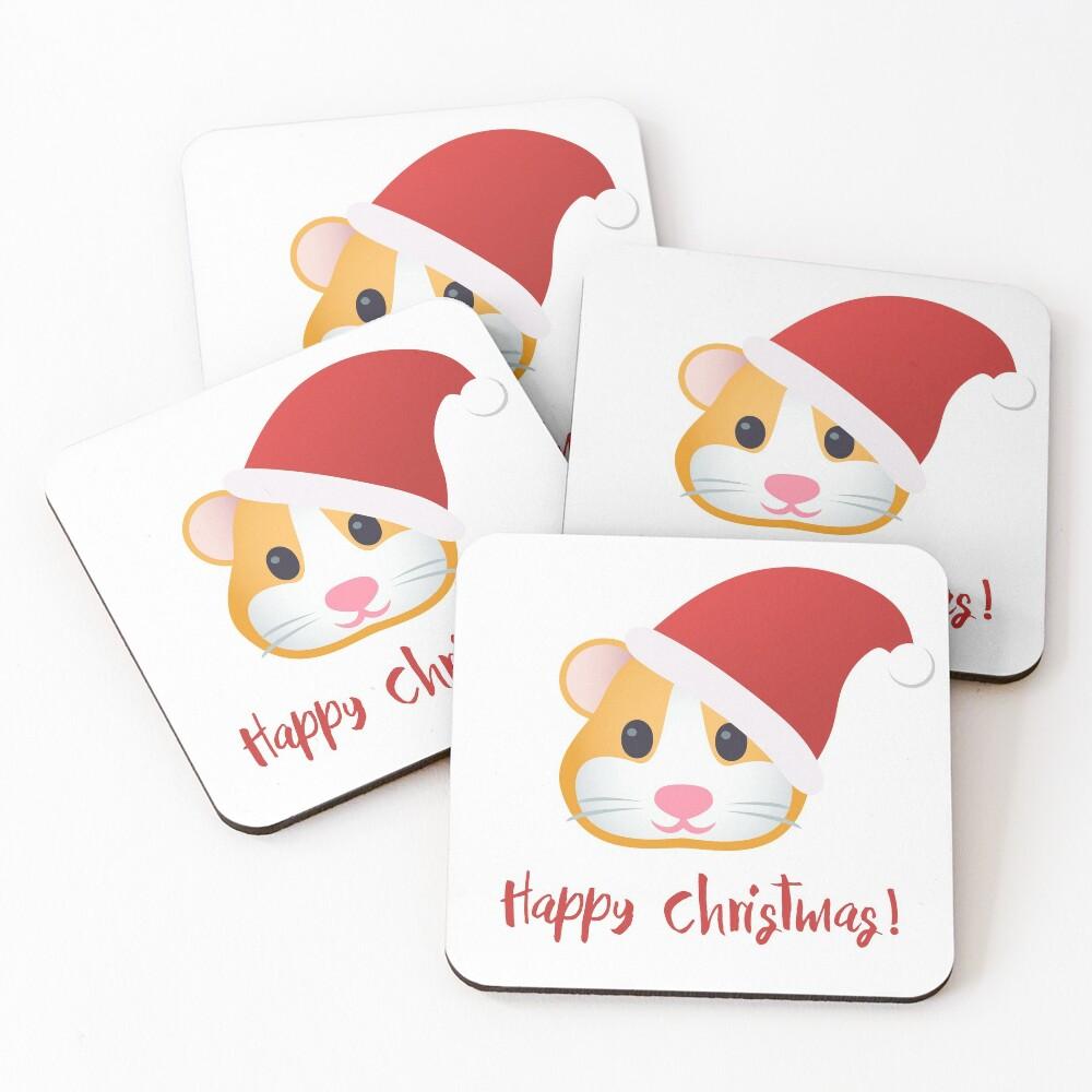 Happy Hamster Christmas Coasters (Set of 4)