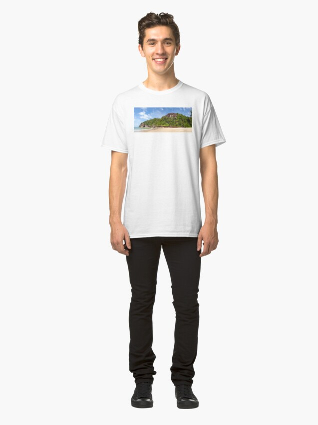 Alternate view of Exotic sand beach and cliffs with forest Classic T-Shirt