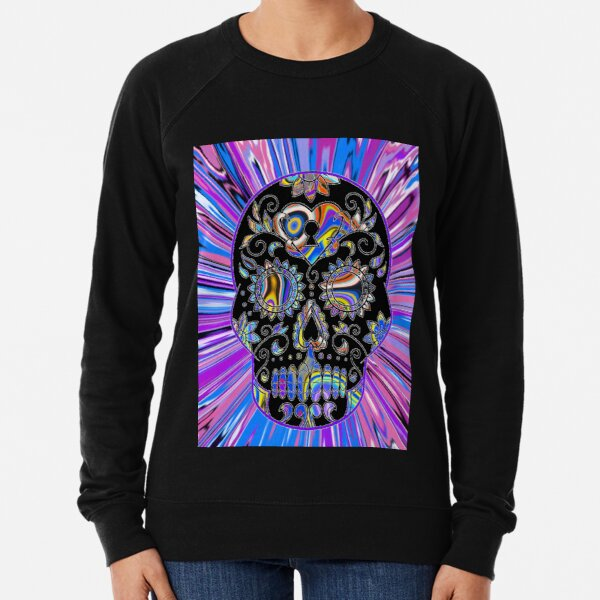 The Colourful Psychedelic Sugar Skull! Lightweight Sweatshirt
