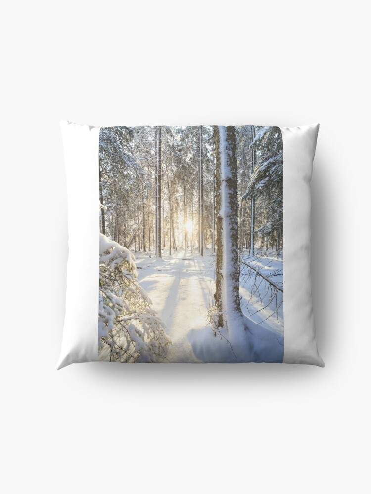 Alternate view of Sunshine in winter forest Floor Pillow