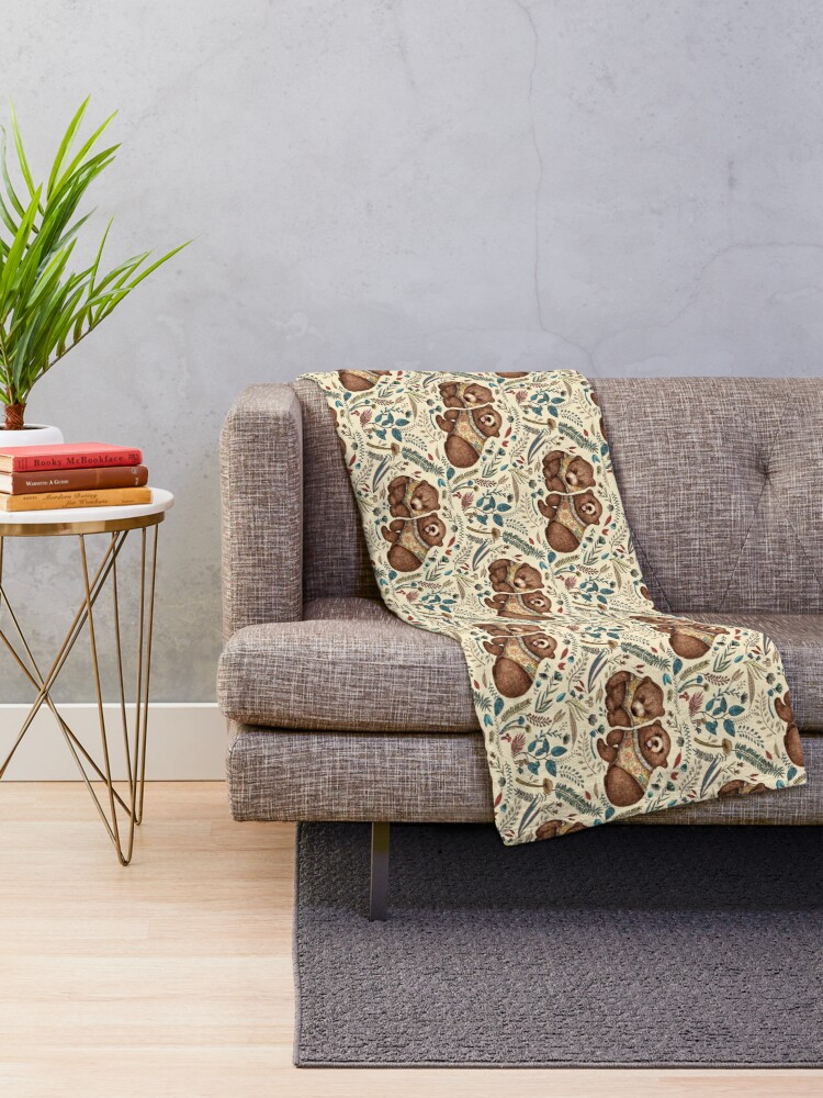 Alternate view of Whimsical Bear Pair with Fantasy Flora  Throw Blanket