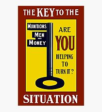 The Key To The Situation -- WWI Photographic Print