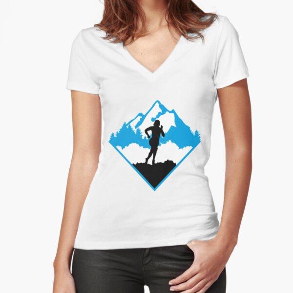 Trail running, runner, running Fitted V-Neck T-Shirt