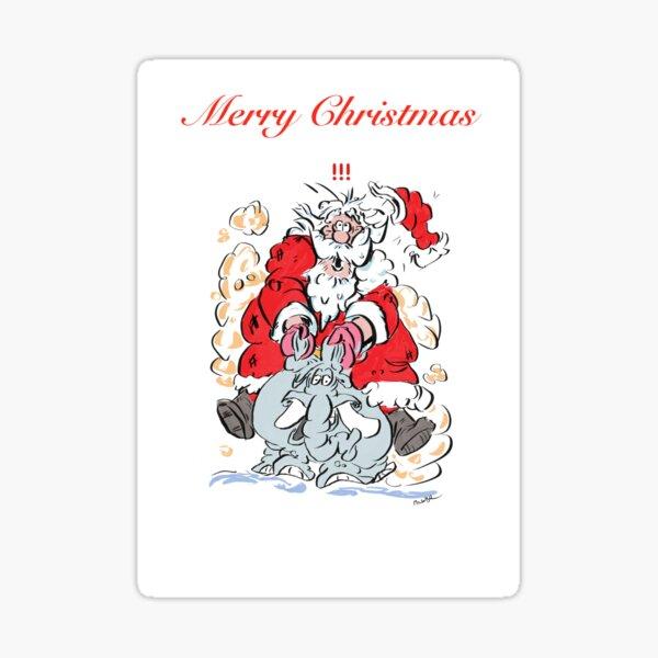 Santa on his way on an elephant Sticker