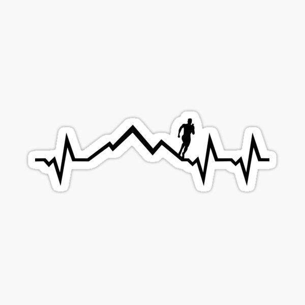 Mountain run heartbeat, running ECG Sticker