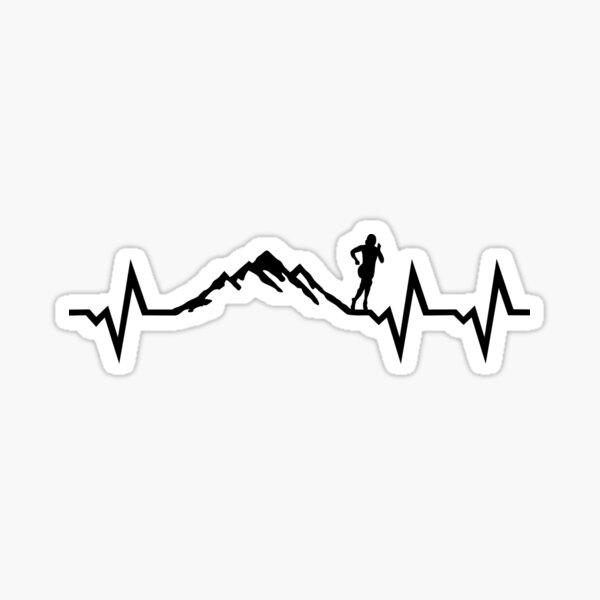 Rythme cardiaque en montagne, ECG en cours d'exécution Sticker