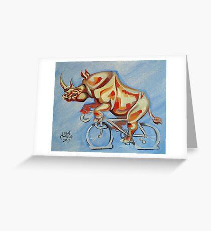 Rhino on a Bicycle Greeting Card