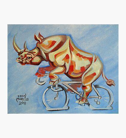 Rhino on a Bicycle Photographic Print