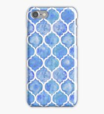 Cornflower Blue Moroccan Watercolor Pattern iPhone Case/Skin