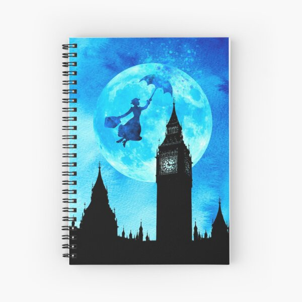 Magical Watercolor Night - Mary Poppins Spiral Notebook