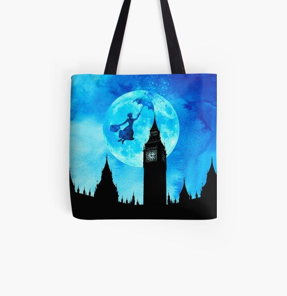 Magical Watercolor Night - Mary Poppins All Over Print Tote Bag