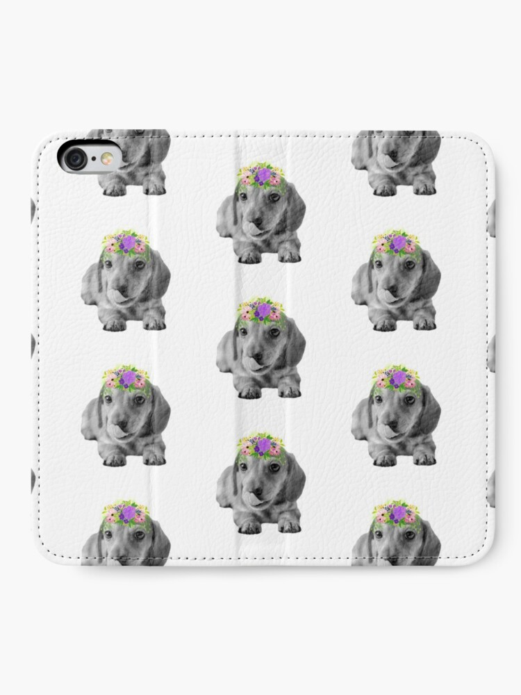 Alternate view of Cute Floral Dachshund Puppy iPhone Wallet