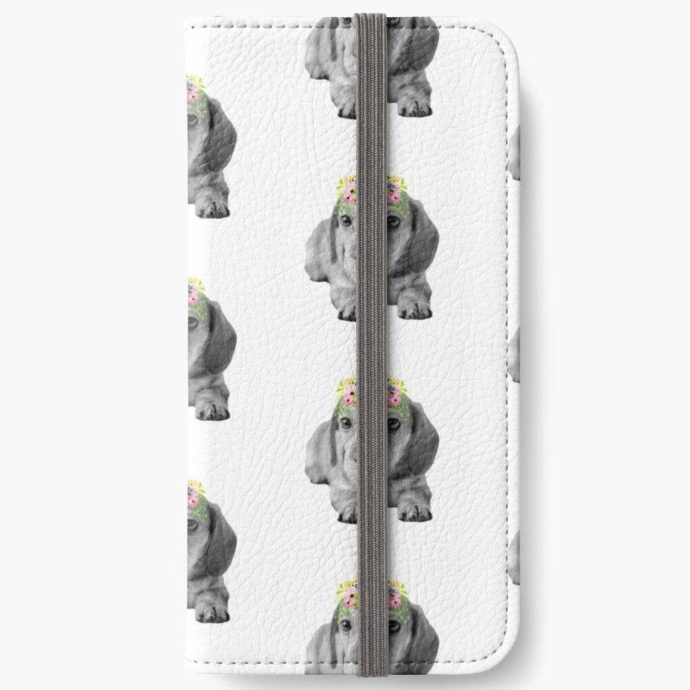 Cute Floral Dachshund Puppy iPhone Wallet