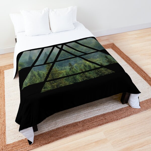Sacred Geometry Triangles - Misty Forest Comforter