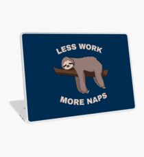 Less Work More Naps - Funny Sloth Laptop Folie