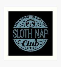 Sloth Nap Club Napping Together - Team Sloth Kunstdruck