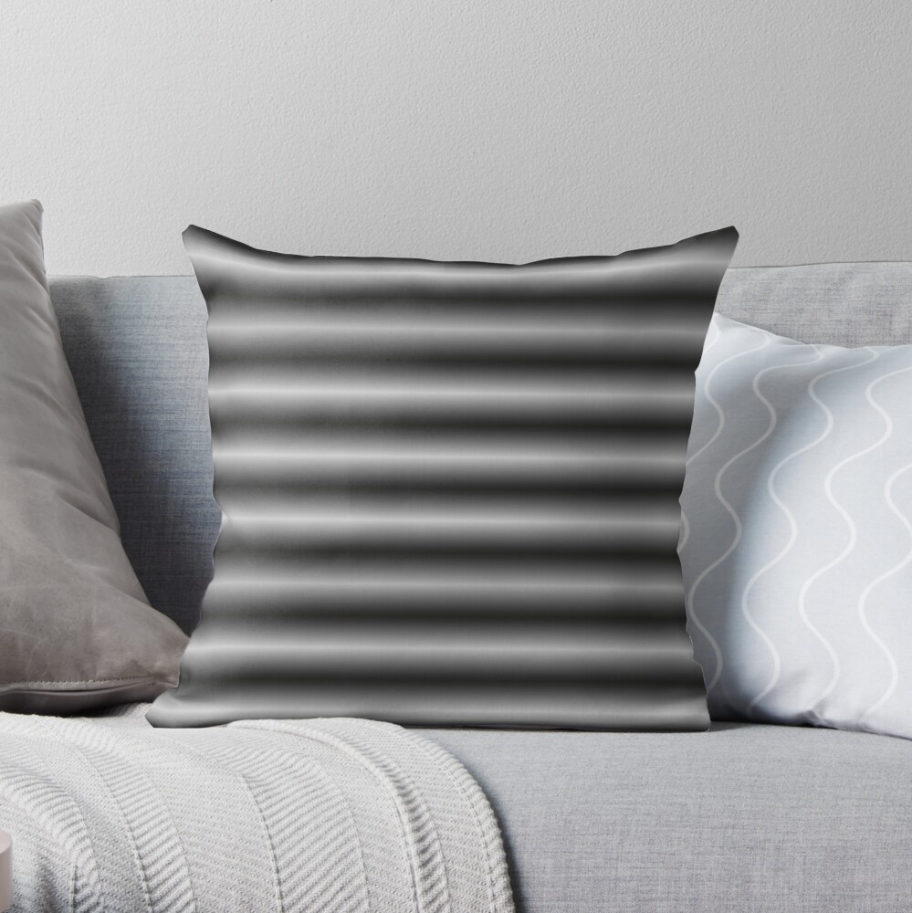 Vibrating Horizontal Bars - Gray / Grey Throw Pillow