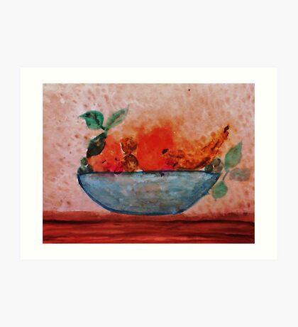 Antique look Bowl of Fruit, watercolor Art Print