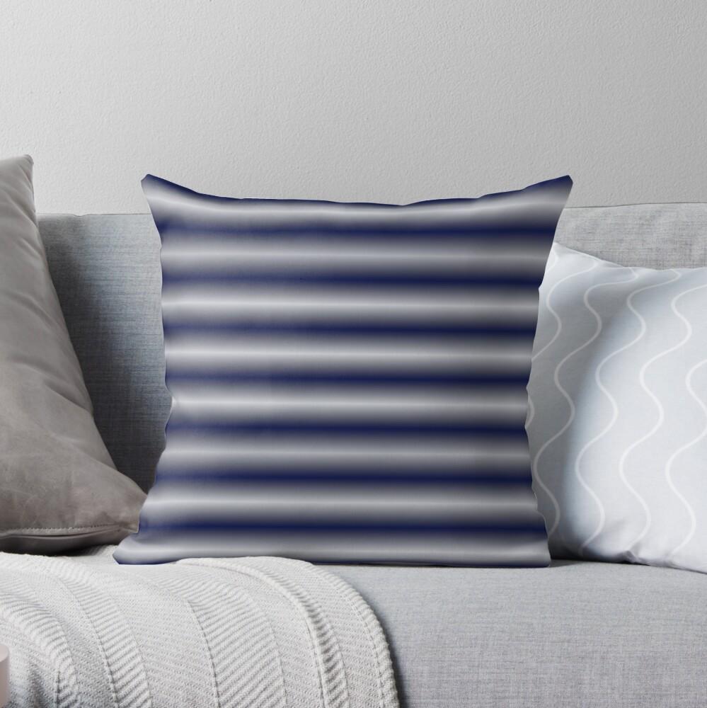 Vibrating Horizontal Bars - Navy Blue Throw Pillow
