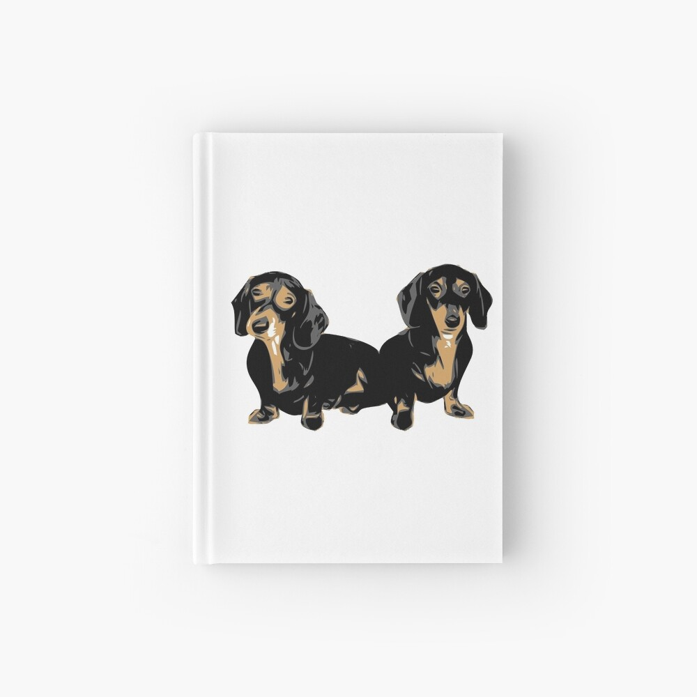 Two Dachshund Puppies Colour Vector Hardcover Journal