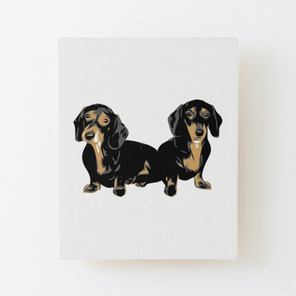 Two Dachshund Puppies Colour Vector Wood Mounted Print