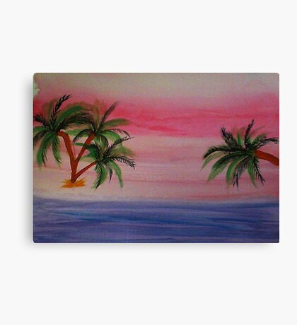 Fantastic Sunset on Beach,1st,watercolor Canvas Print