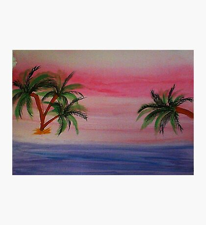 Fantastic Sunset on Beach,1st,watercolor Photographic Print