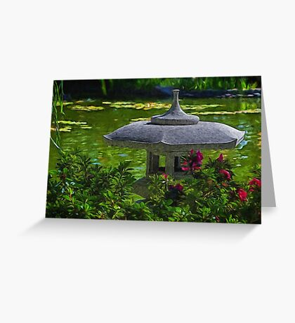 Sunny afternoon in the Japanese garden Greeting Card