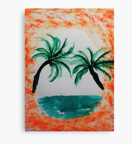 Palm Trees hanging over sea in Oval, with orange splash,, watercolor Canvas Print